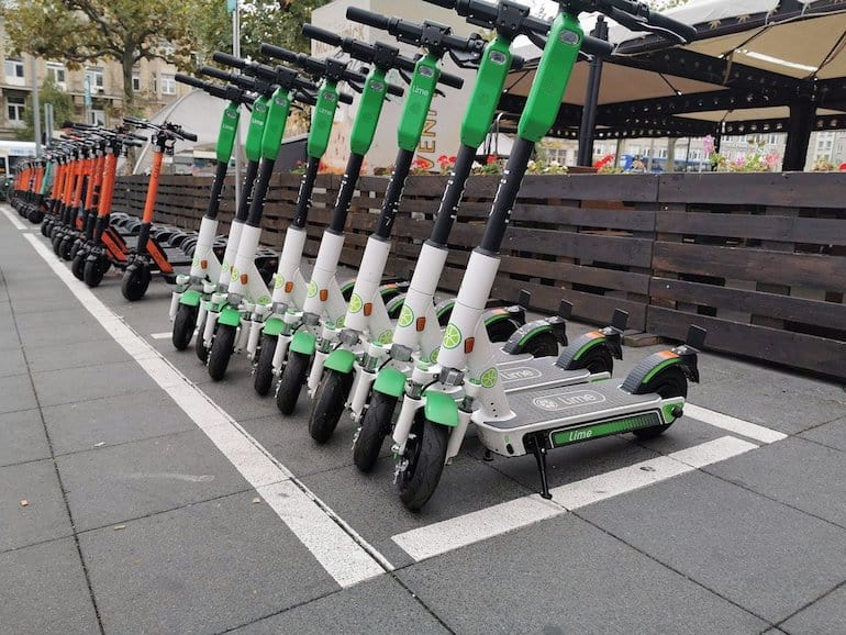 electric scooter safety, e-scooters in a row